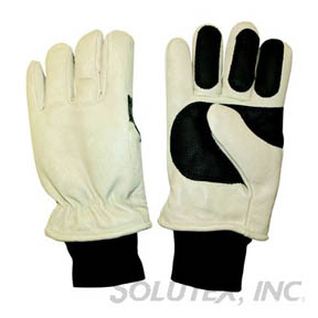 THINSULATE/PIGSKIN WINTER GLOVES W/GRIP LARGE (TAN)